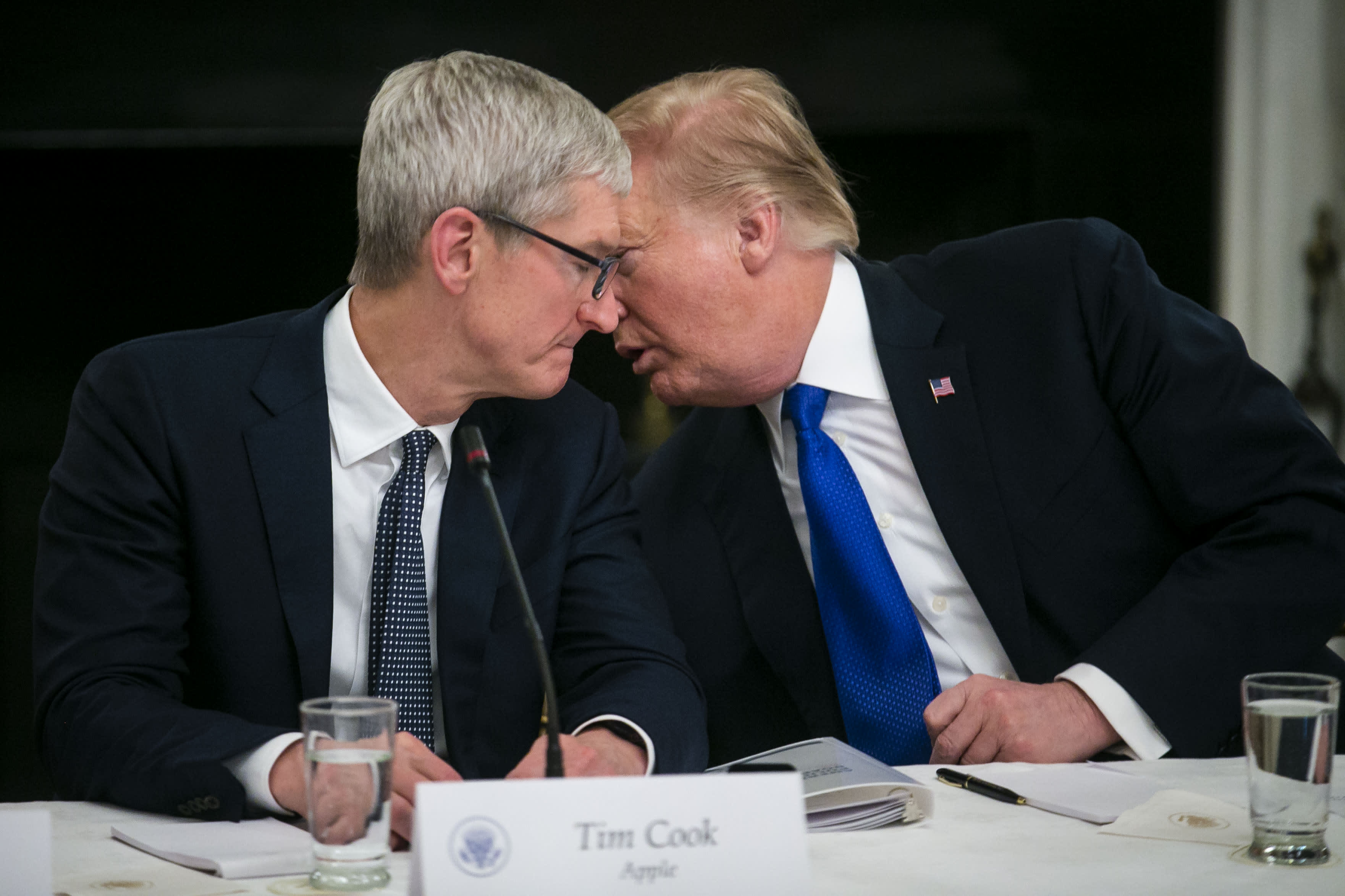 Trump says he talked to Apple CEO Tim Cook about tariffs and Samsung