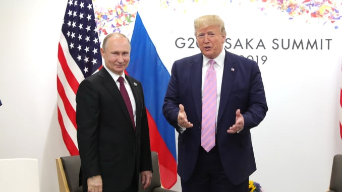 US President Donald Trump meets Russian President Vladimir Putin on the first day of the G20 summit in Osaka, Japan on June 28, 2019.