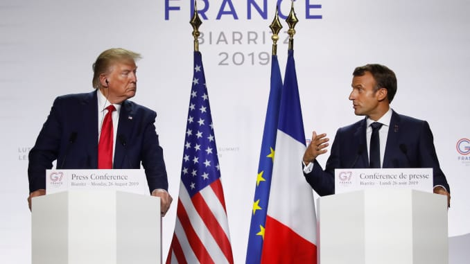 RT: Emmanuel Macron and Donald Trump at G7 in Biarritz, 190826