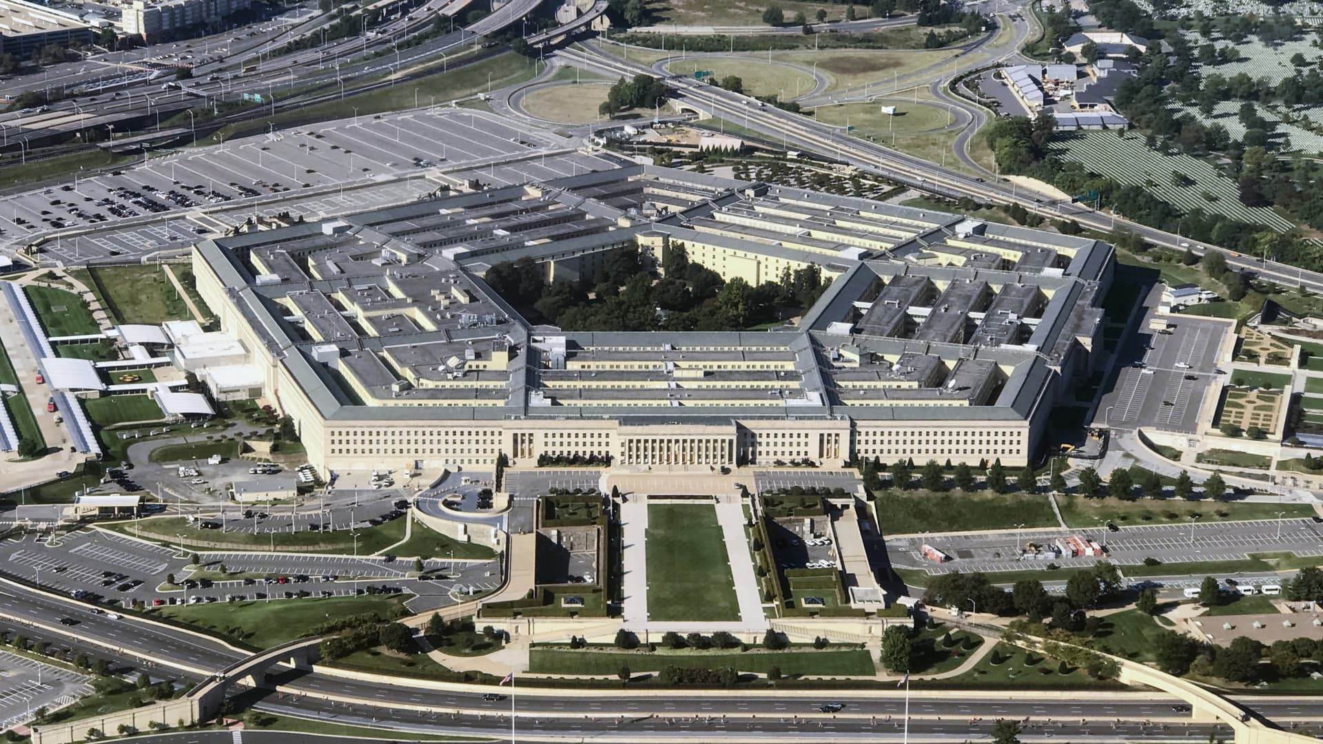 Aerial view of the Pentagon building photographed on Sept. 24, 2017.