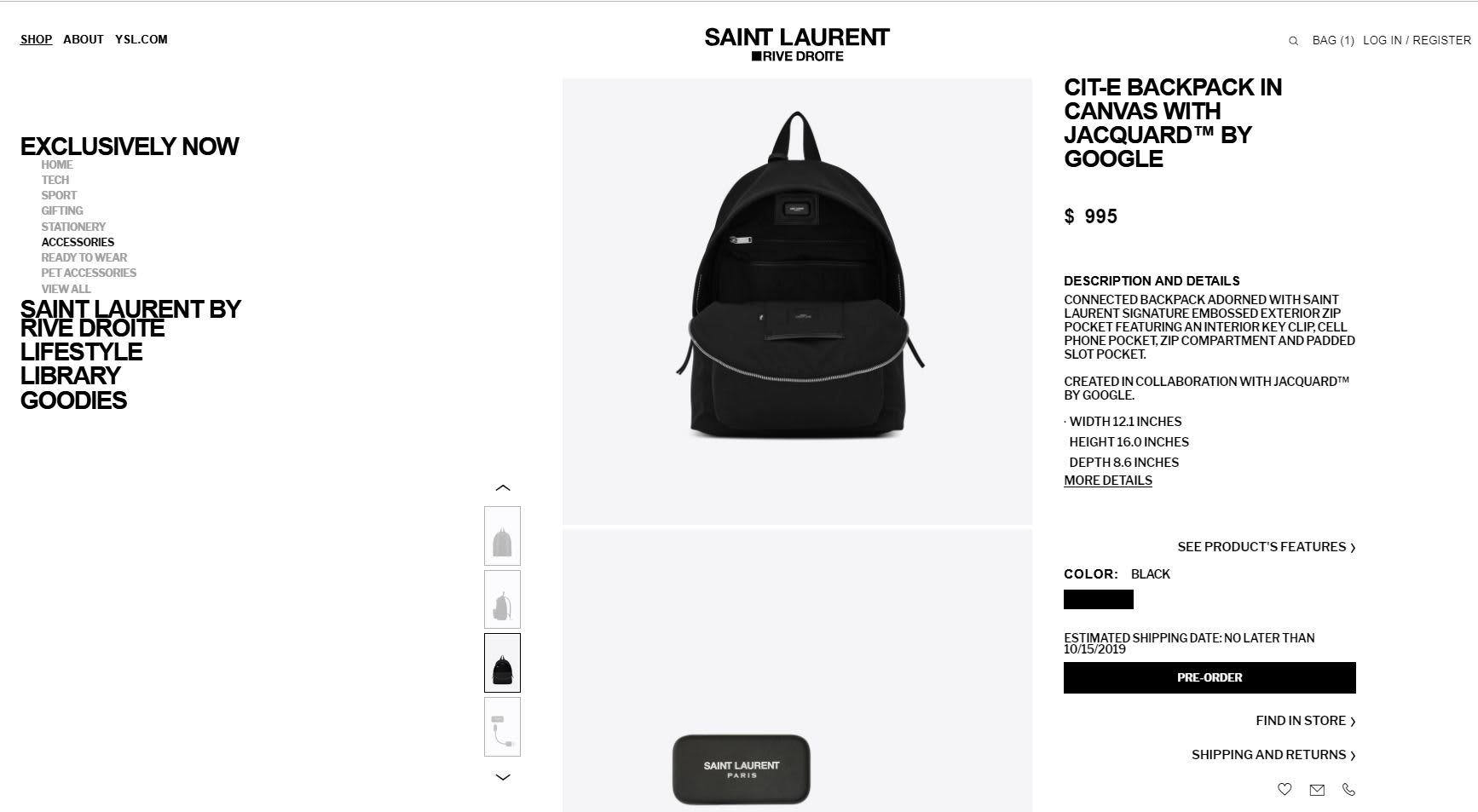 Take a look at the $995 smart backpack from Google and Yves Saint Laurent