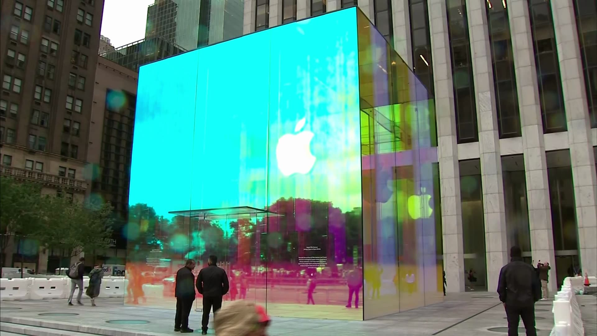 Apple wraps New York flagship store in rainbow colors to celebrate reopening