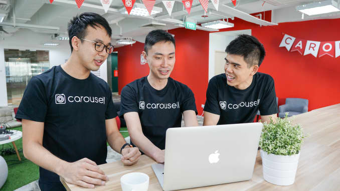 Carousell's three co-founders from left to right, Marcus Tan, Lucas Ngoo and Siu Rui Quek.