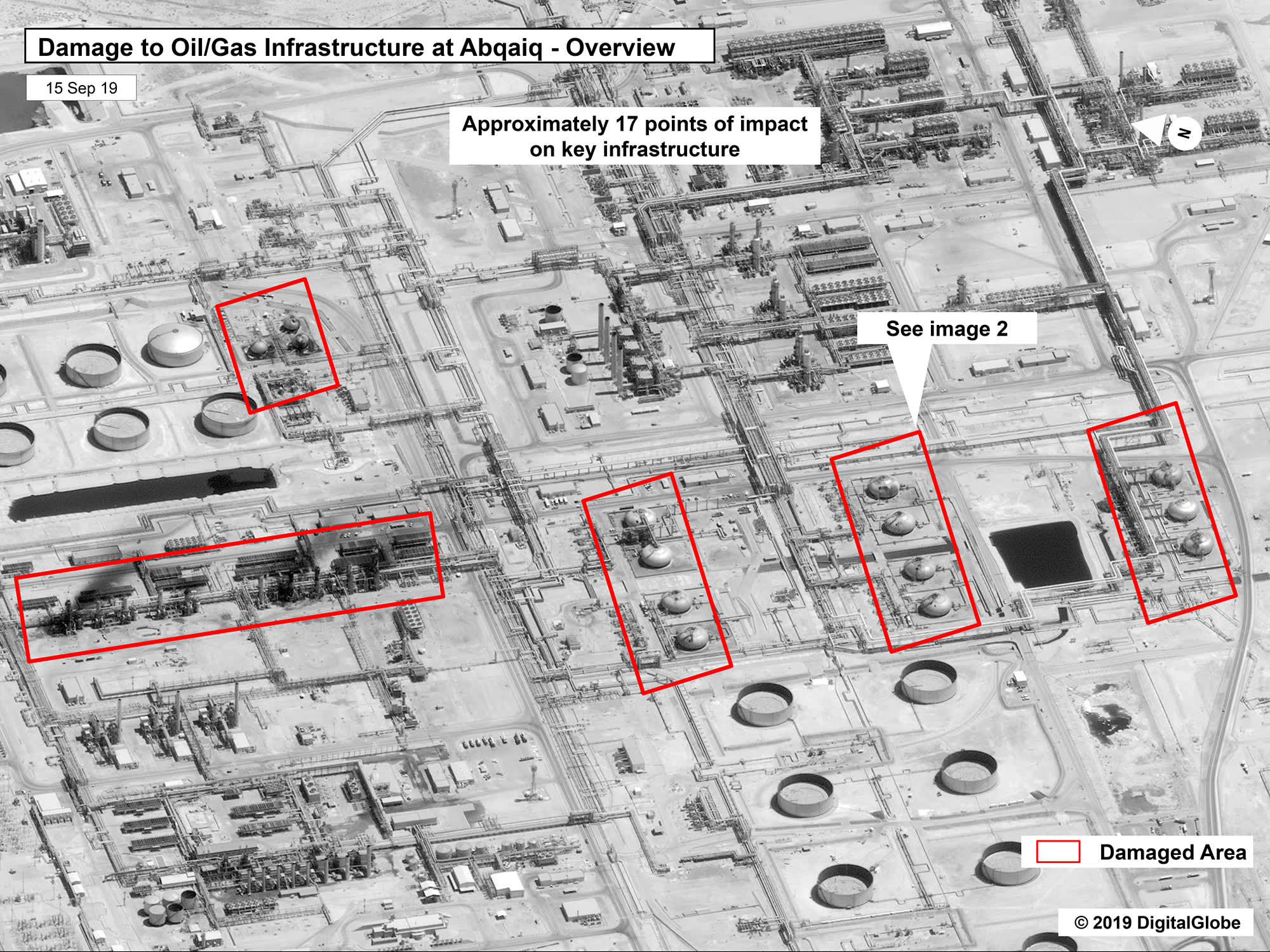 Detailed satellite photos show extent of 'surgical' attack damage to Saudi Aramco oil facilities