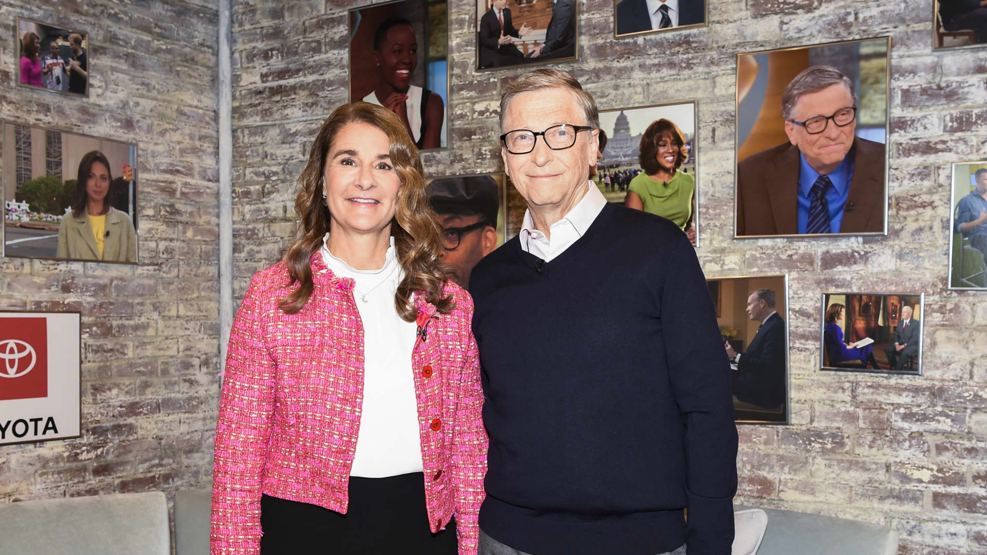 NEW YORK - FEBRUARY 12: Bill and Melinda Gates in the CBS Toyota Greenroom before their appearance on CBS THIS MORNING, Feb 12, 2019. (Photo by Michele Crowe/CBS via Getty Images)