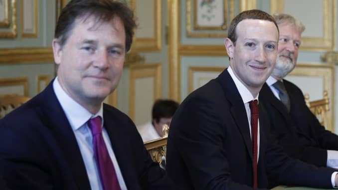 CEO and co-founder of Facebook Mark Zuckerberg poses next to Facebook head of global policy communications and former UK deputy prime minister Nick Clegg (L) prior to a meeting with French President at the Elysee Palace in Paris, on May 10, 2019.