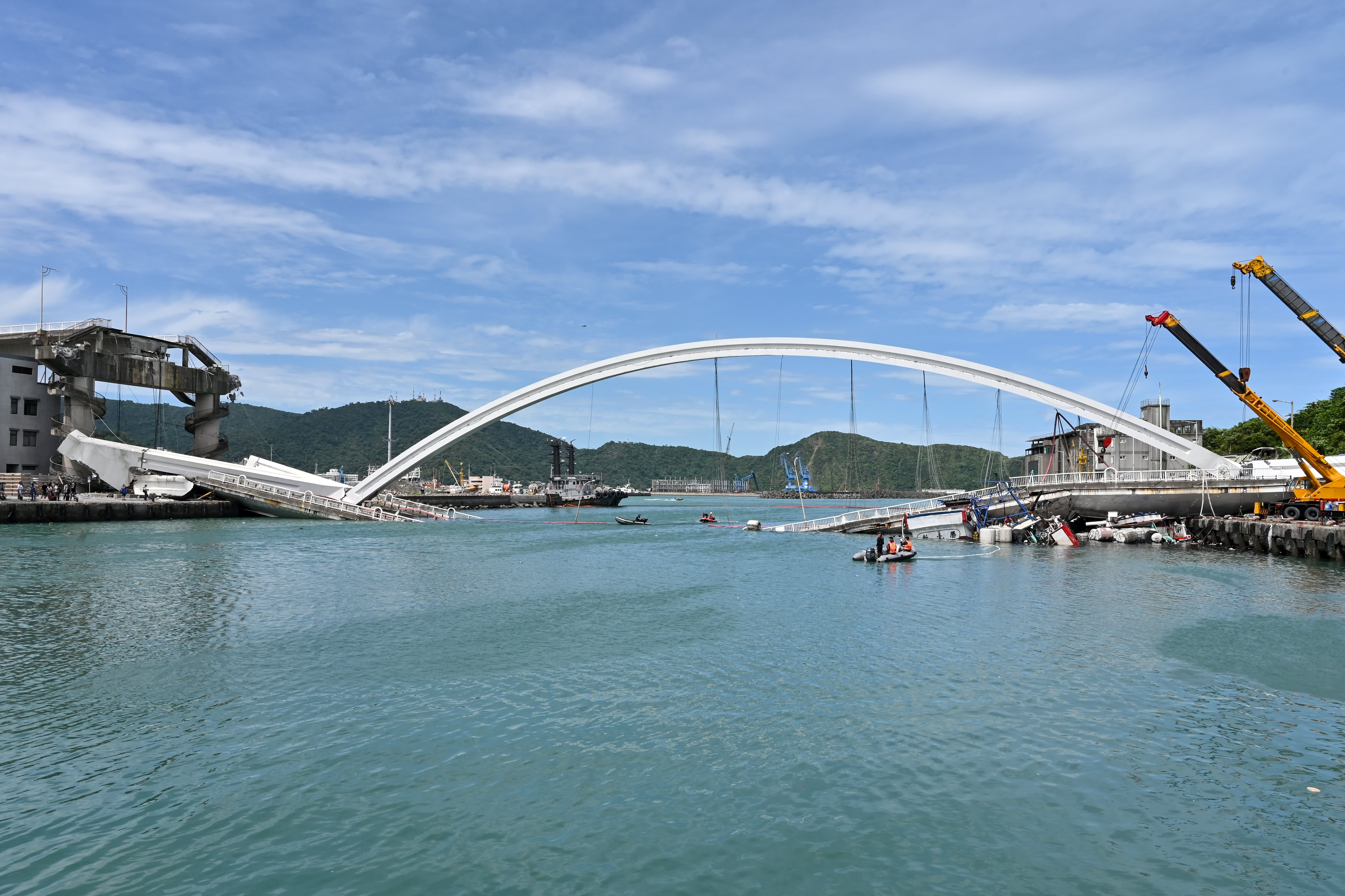 Taiwan bridge collapse crushes fishing boats, some crew feared trapped