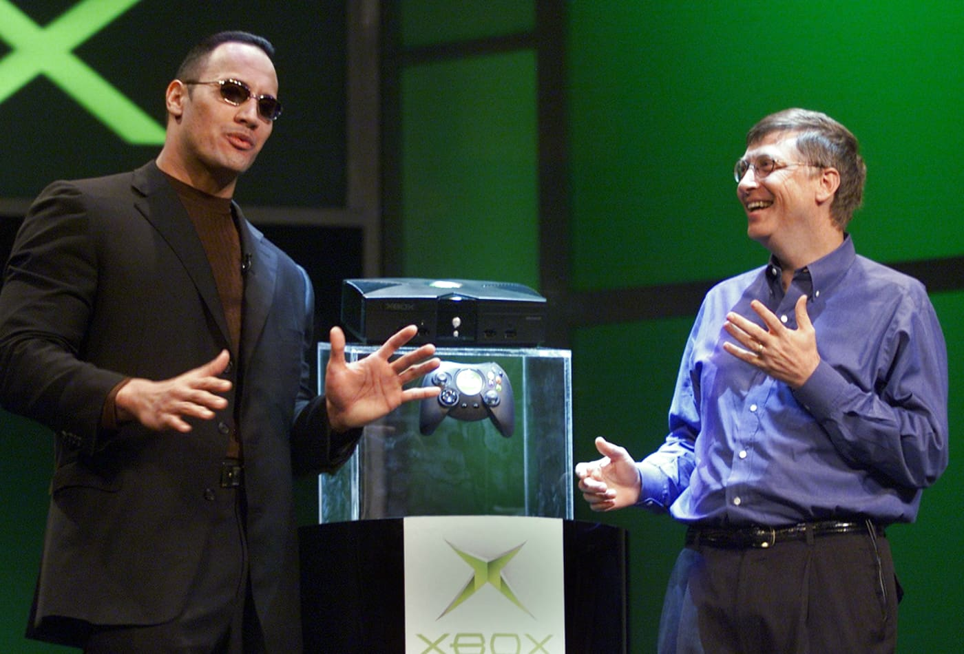 Dwayne 'The Rock' Johnson shares video of launching XBox in 2001 with his 'bud and twin' Bill Gates