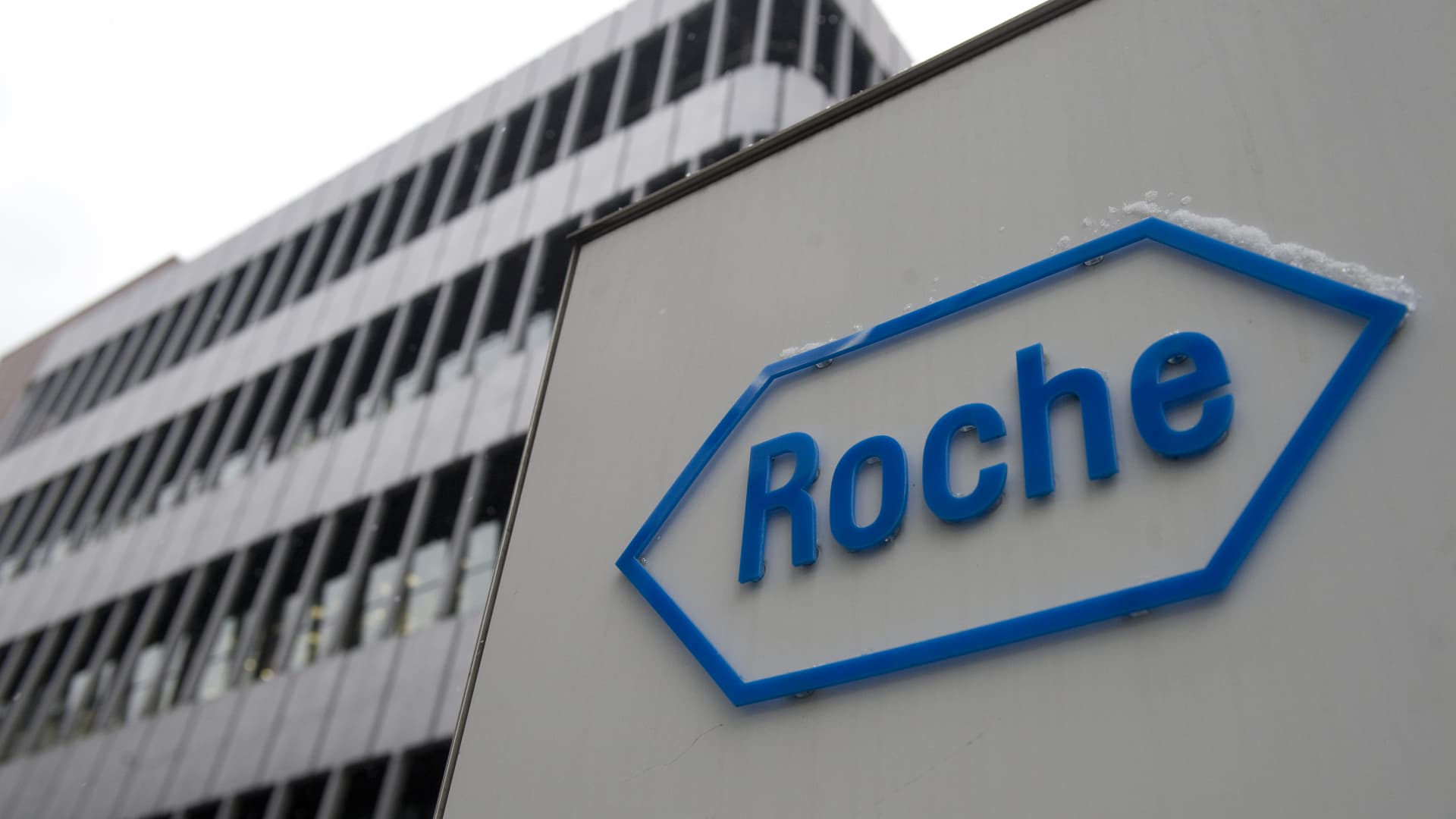 A photo showing the logo of Swiss pharmaceutical giant Roche in Basel.