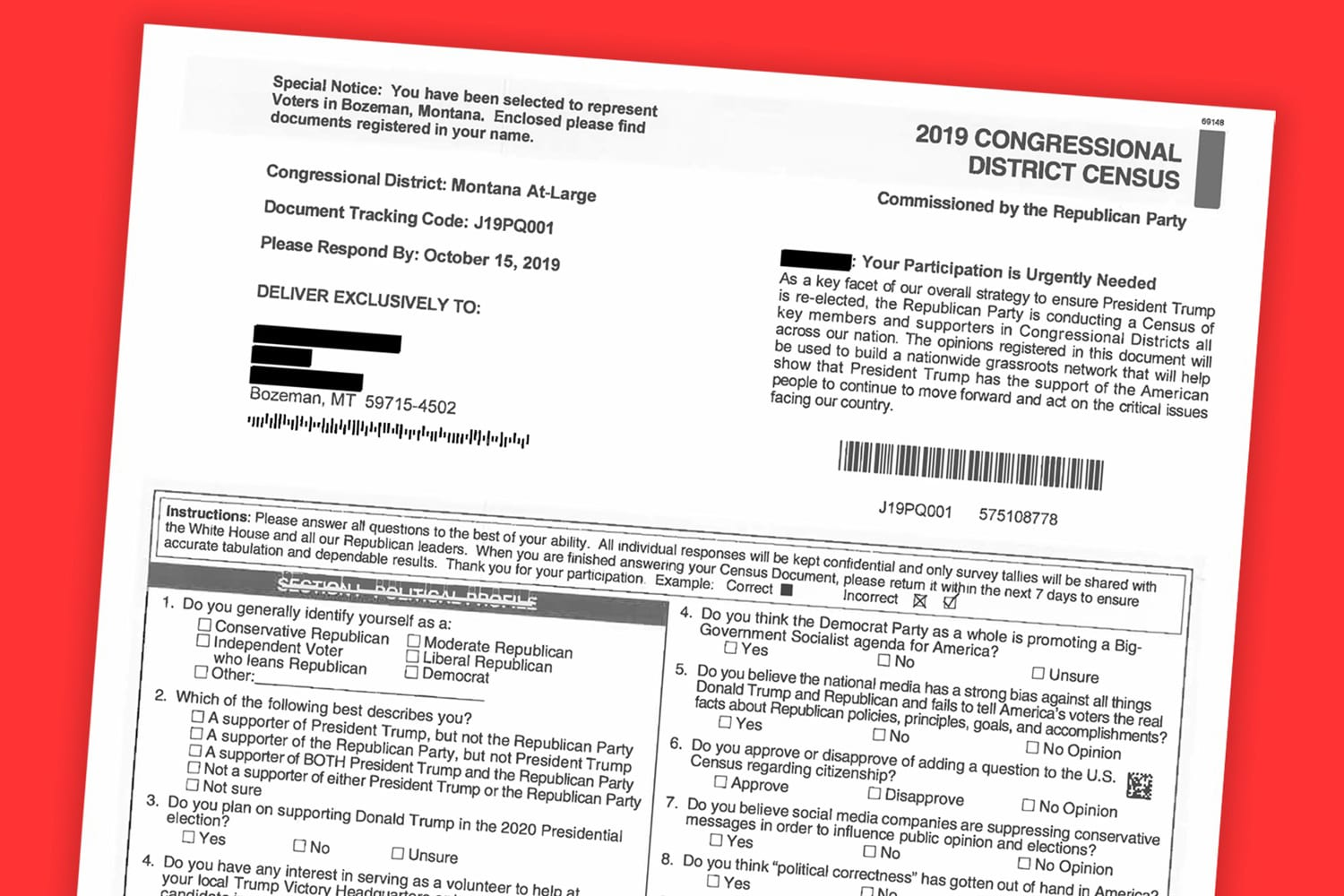 Civil rights groups slam RNC for 'fraudulent' census mailers to Montana residents