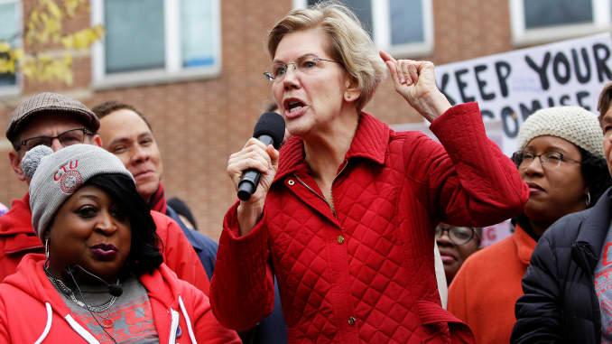 RT: Elizabeth Warren speaks to striking teachers 191022