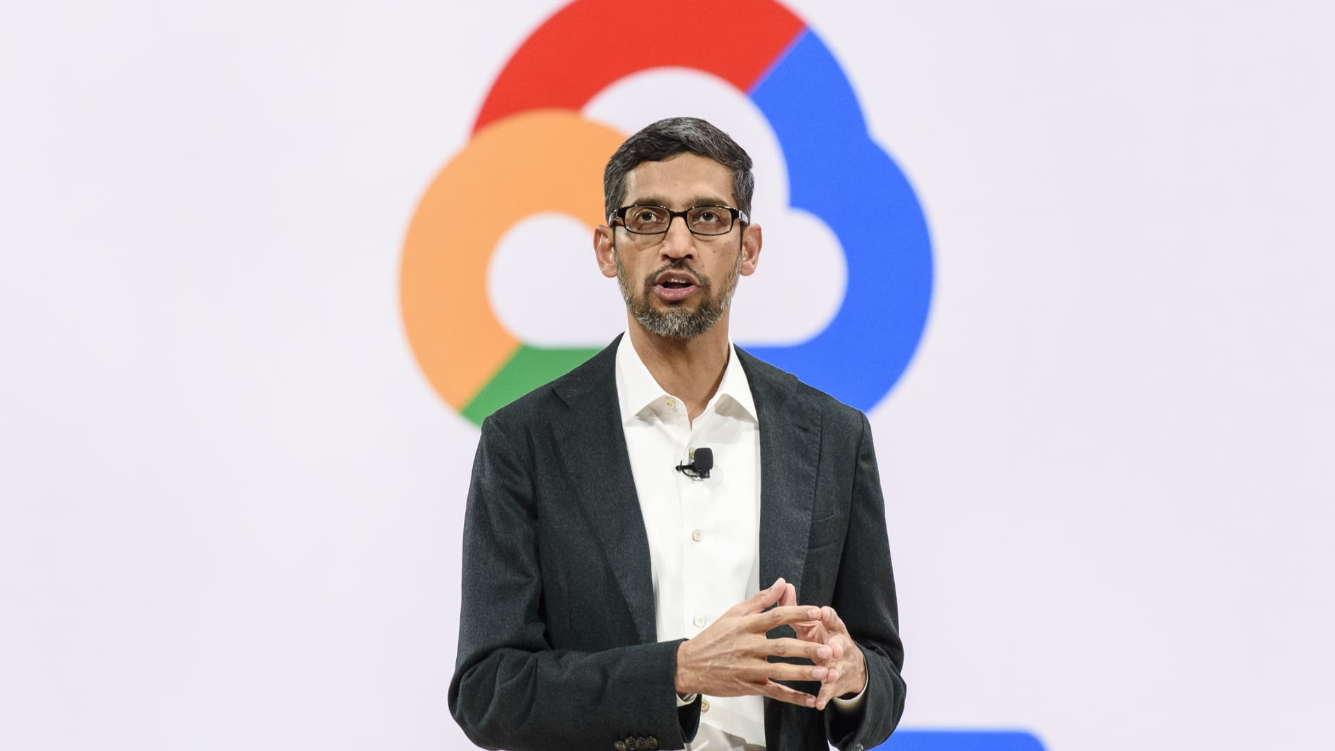 Sundar Pichai, chief executive officer at Google LLC, speaks during the Google Cloud Next '19 event in San Francisco, California, U.S., on Tuesday, April 9, 2019.