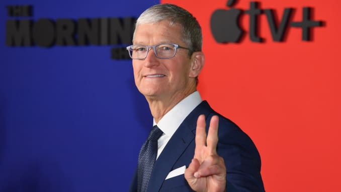 "Apple CEO Tim Cook arrives for Apples ""The Morning Show"" global premiere at Lincoln Center- David Geffen Hall on October 28, 2019 in New York."