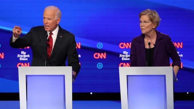 GP: Joe Biden Elizabeth Warren Democratic Presidential Candidates Participate In Fourth Debate In Ohio