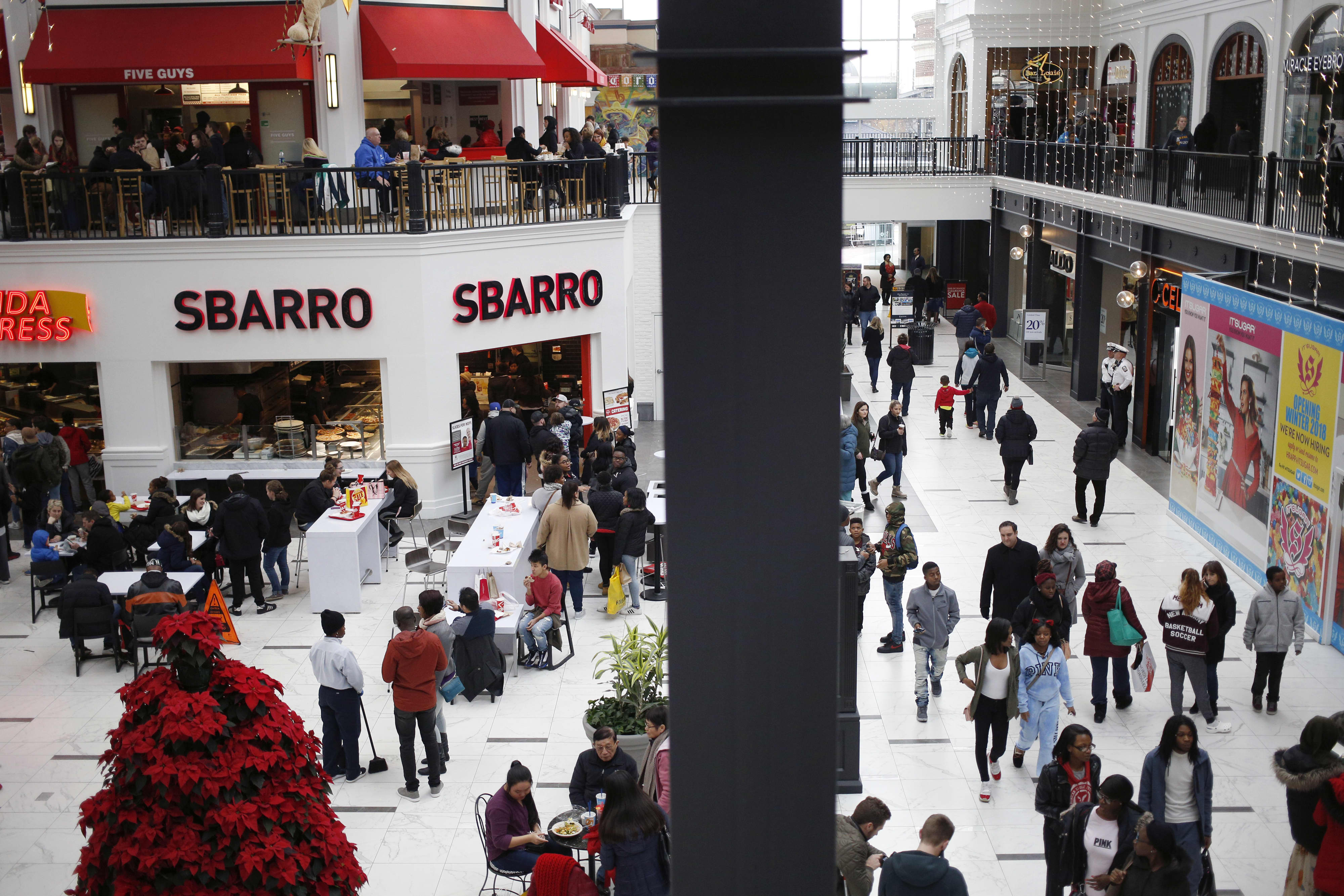 More people are going to the mall to eat at the food court, not shop, UBS says