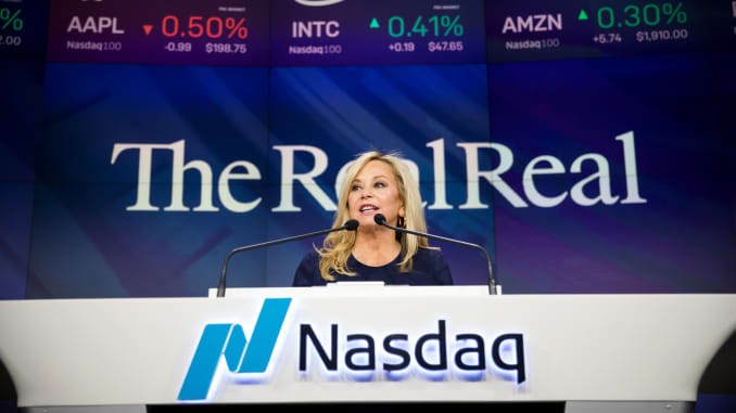 Julie Wainwright, founder and chief executive officer of the RealReal Inc., speaks during the company's initial public offering (IPO) at the Nasdaq MarketSite in New York, U.S., on Friday, June 28, 2019.