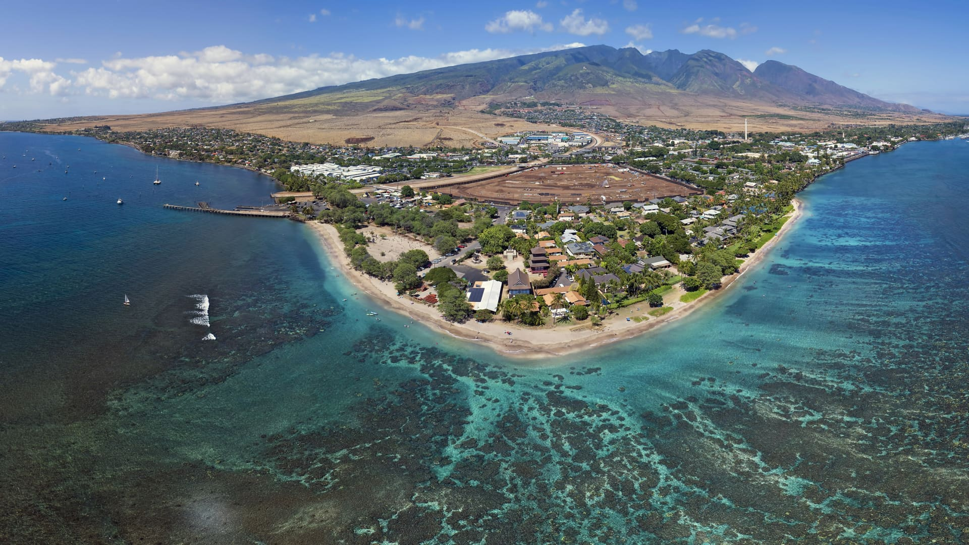 Drone aerial panorama of Baby Beach on the Island of Maui, Hawaii.
