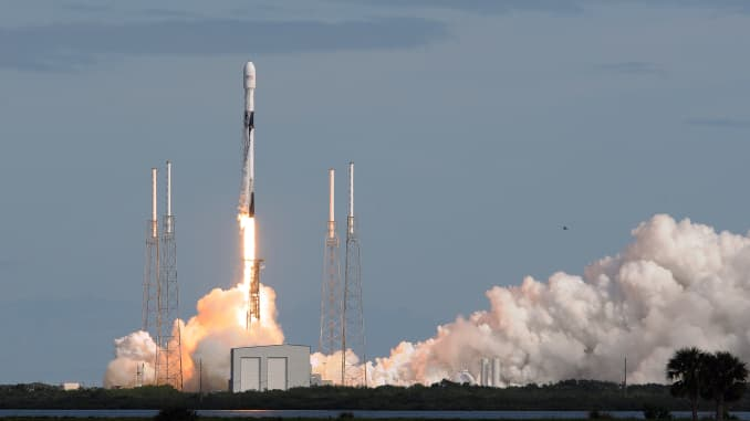 A SpaceX Falcon 9 rocket lifts off from Cape Canaveral Air Force Station carrying 60 Starlink satellites on November 11, 2019 in Cape Canaveral, Florida. The Starlink constellation will eventually consist of thousands of satellites designed to provide world wide high-speed internet service.