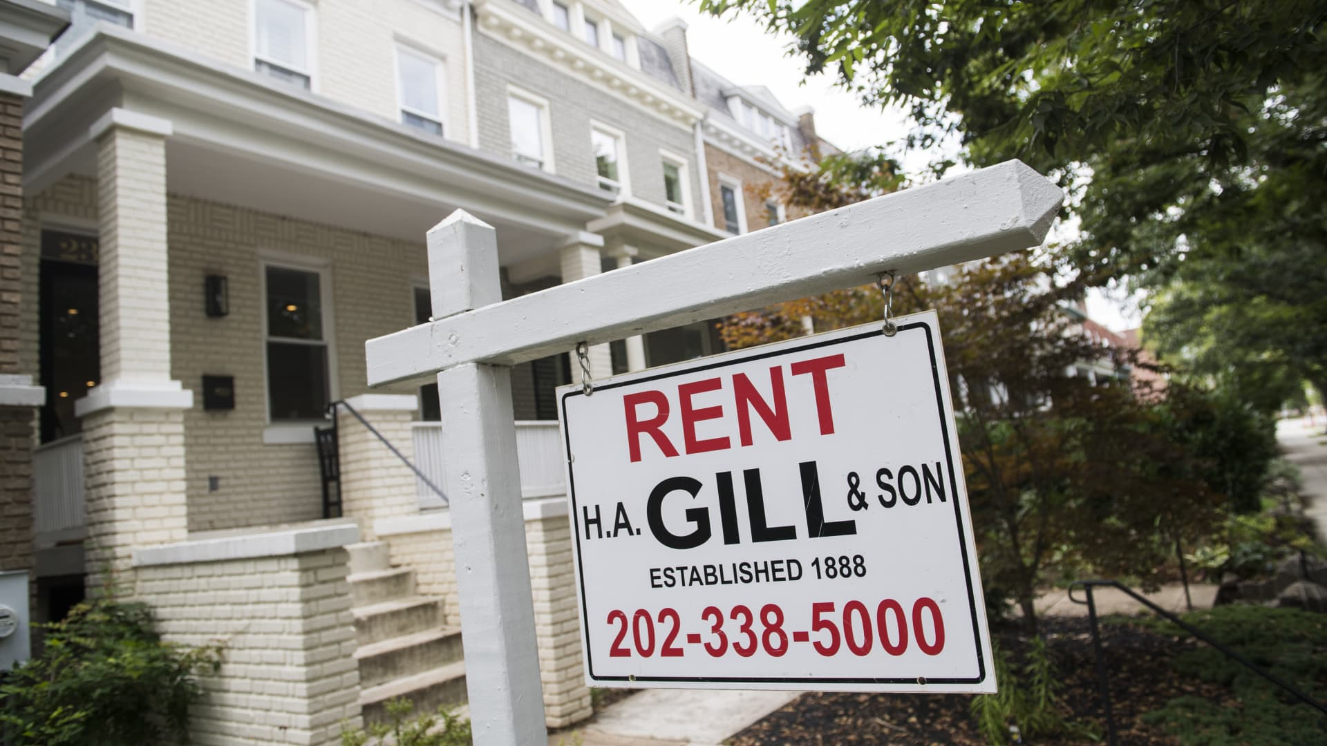 A for rent sign advertising a row house in northeast Capitol Hill, is pictured on Monday, August 26, 2019, in Washington D.C.