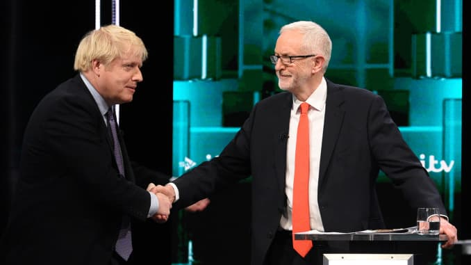 GP: Jeremy Corbyn And Boris Johnson Take Part In ITV Leaders Debate 191120 EU