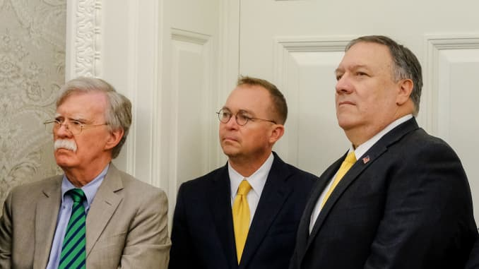 GP:John Bolton, national security adviser, from left, Mick Mulvaney, acting White House chief of staff, and Mike Pompeo secretary of state