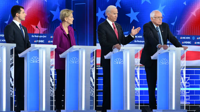 GP: US-VOTE-2020-DEMOCRATS-DEBATE-POLITICS Buttigieg Warren Biden Sanders