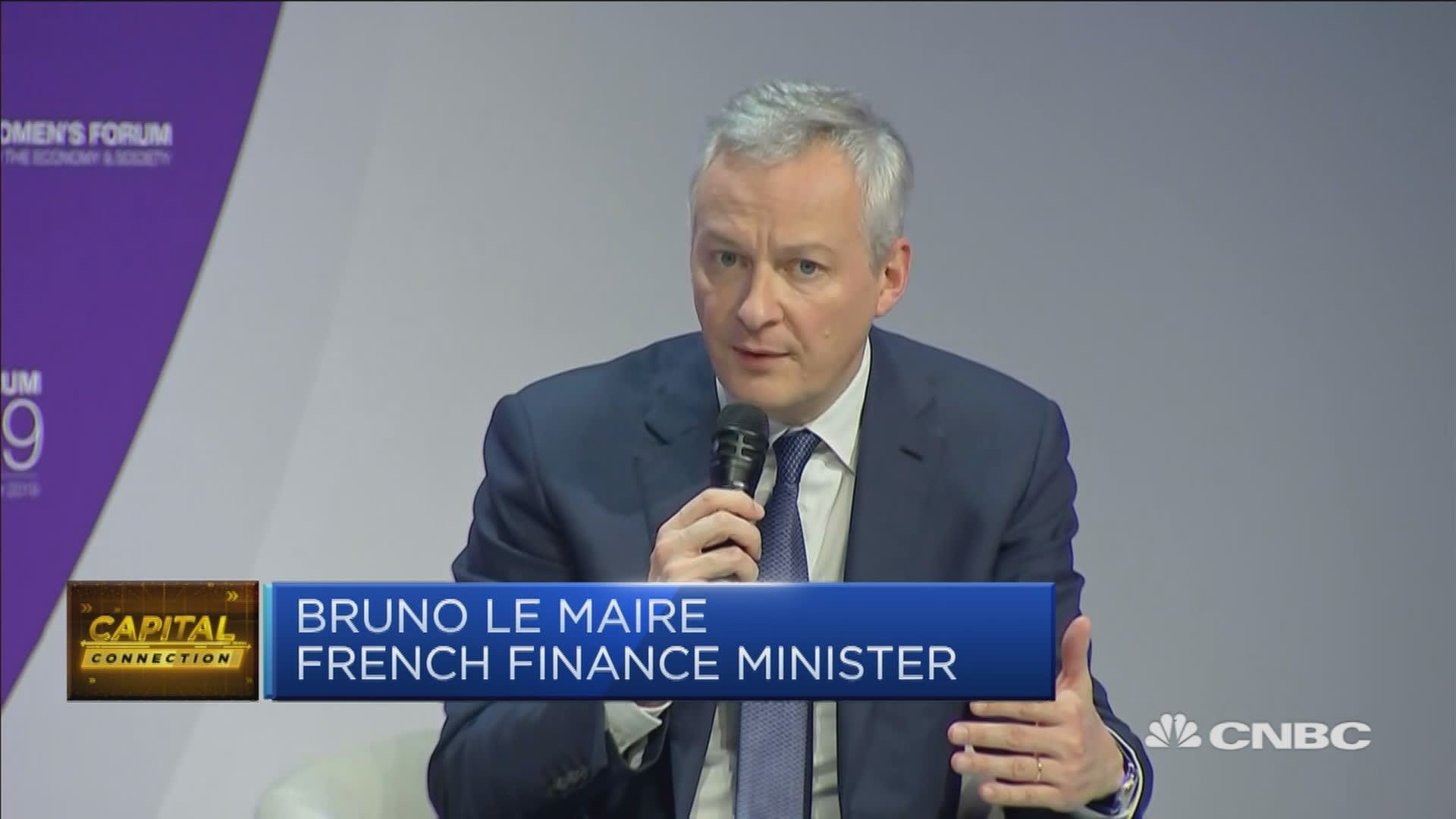 French finance minister: Hoping for a trade agreement between US and China
