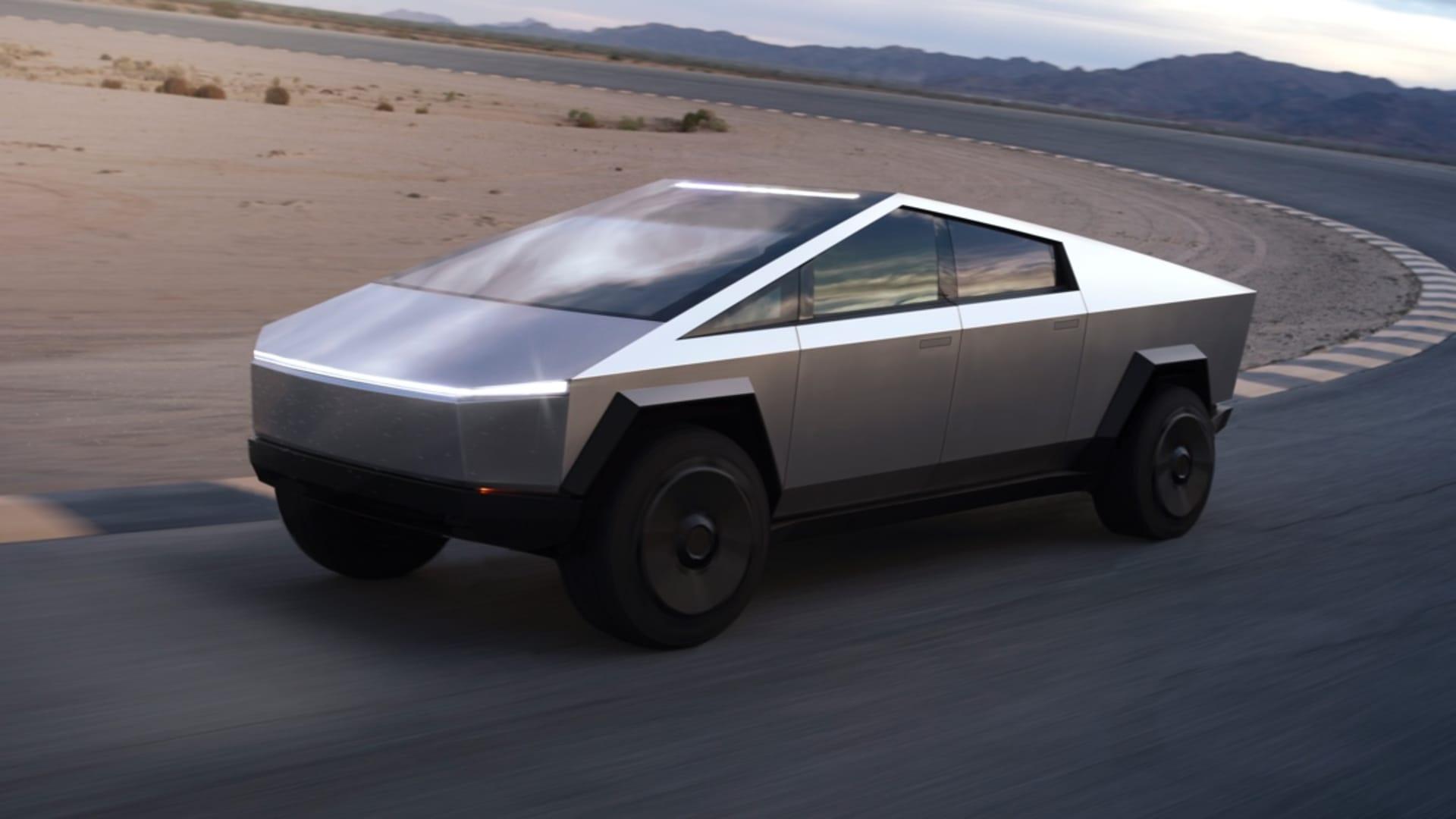 A promotional shot of Tesla's Cybertruck.