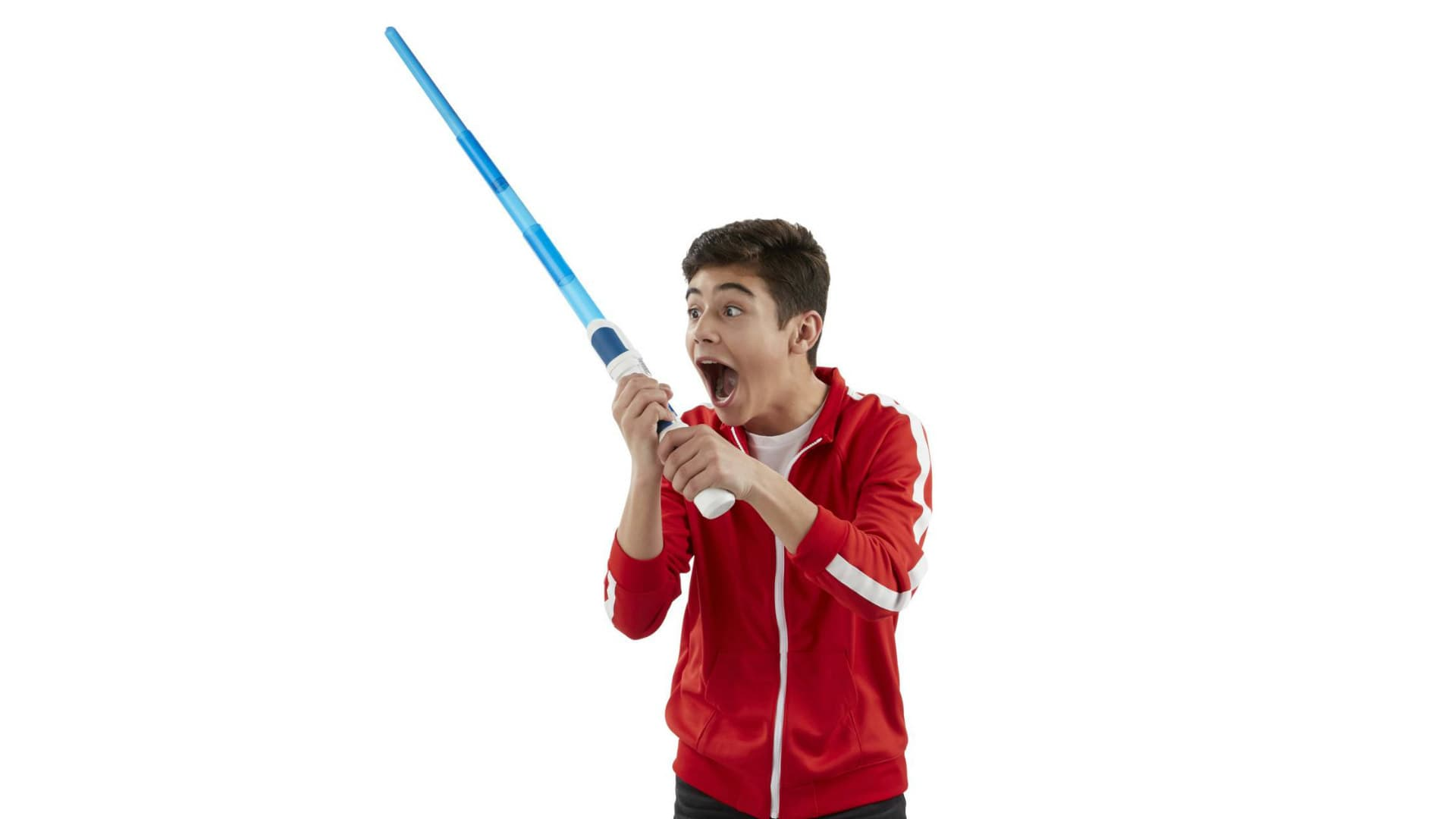 The Star Wars Scream Saber allows boys and girls to record their own lightsaber sounds like wacky screams, funny animal noises, and other irreverent sounds.