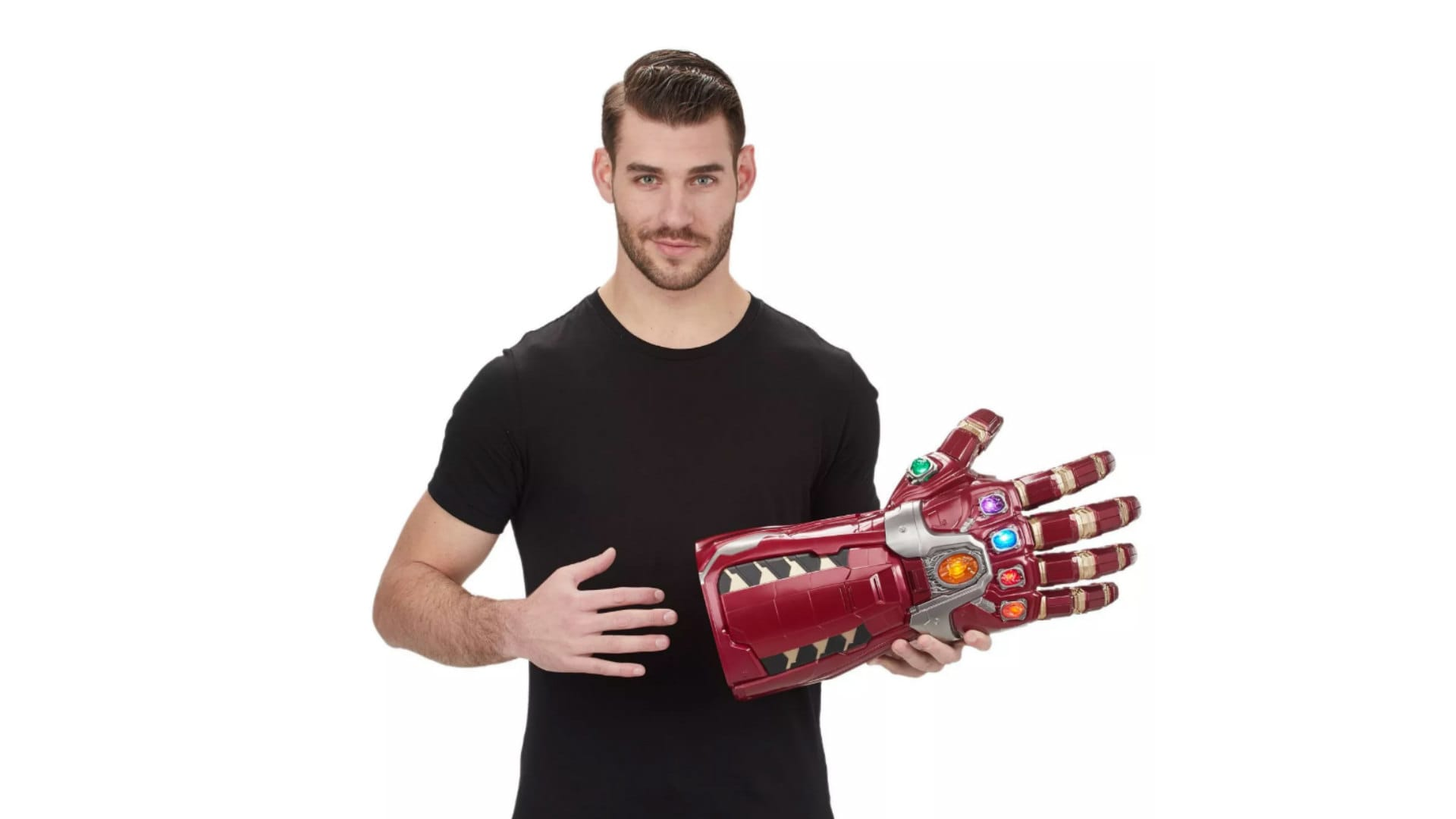 "The intricately detailed design of this electronically articulated Power Gauntlet is inspired by the ""Avengers: Endgame"" movie, part of the Marvel Cinematic Universe."