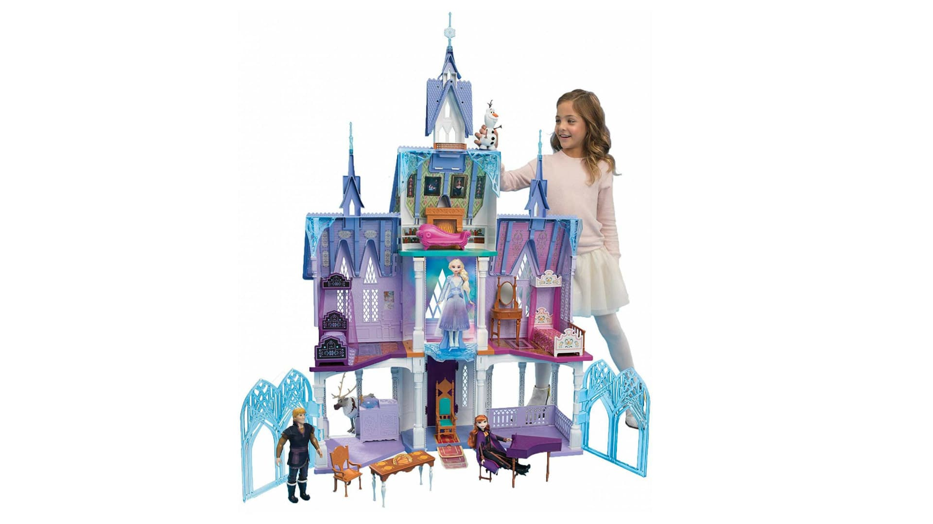 The ultimate Arendelle castle Playset is 5 feet tall, 4 feet wide with 2 sides of folding gates and 4 floors including a lookout tower.