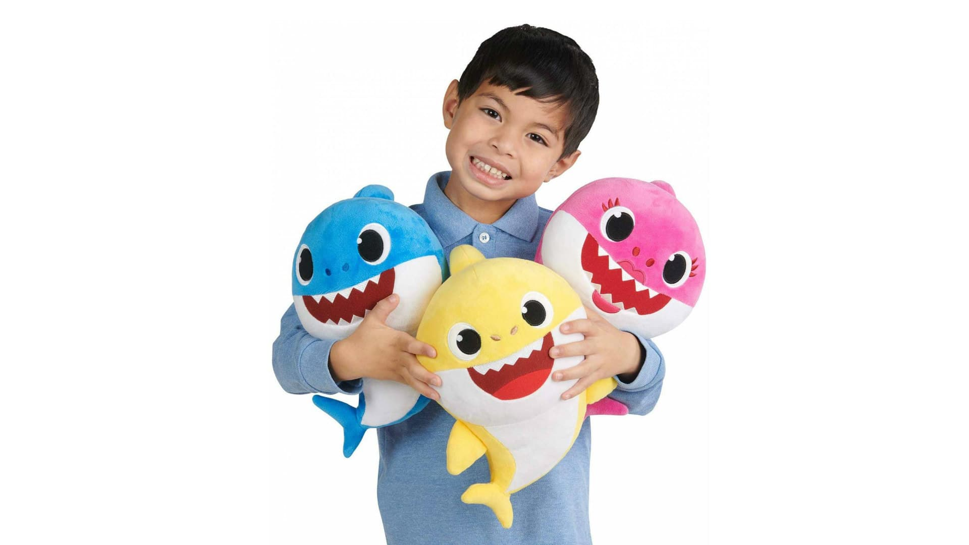 Soft plush Baby Shark dolls sing verses from the baby shark song.