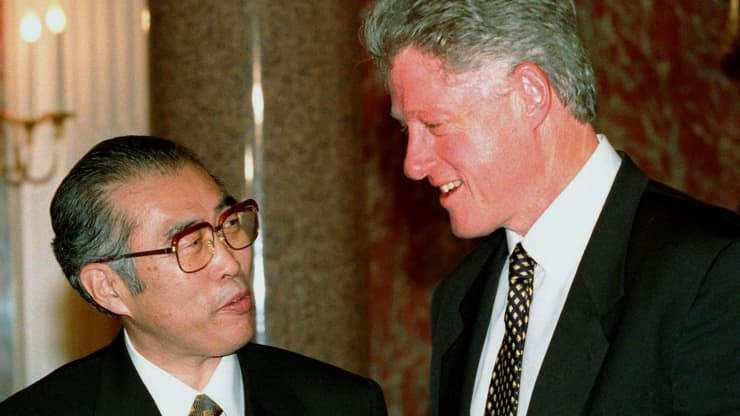 GP: Bill Clinton visit to Japan Nov. 19th, 1998. Japanese Prime Minister Keizo Obuchi. Clinton Impeachment while abroad