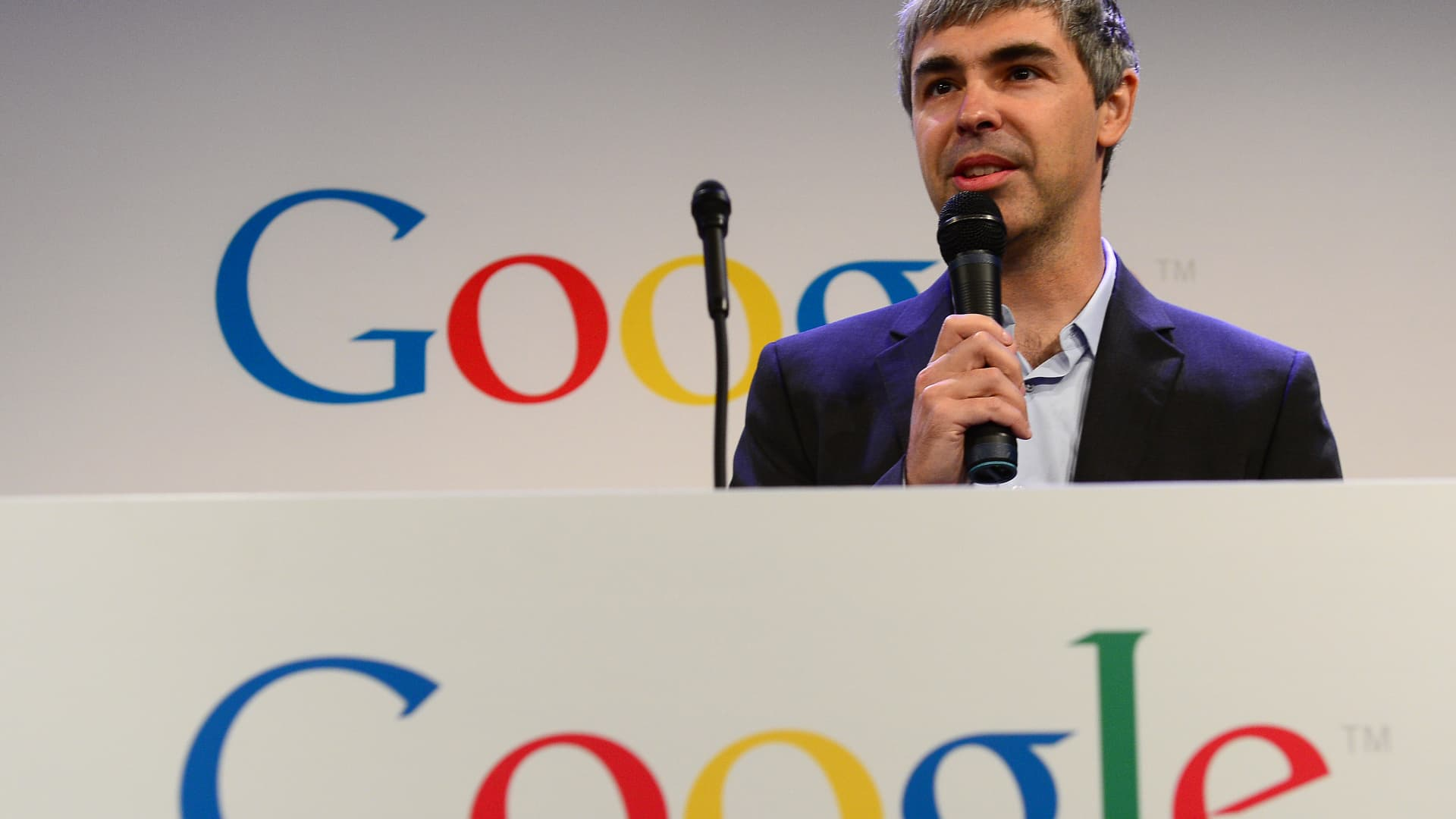 Google CEO Larry Page holds a press annoucement at Google headquarters in New York on May 21, 2012. Google announced that it will allocate 22,000 square feet of its New York headquarters to CornellNYC Tech university, free of charge for five years and six month or until the university completes its campus in New York.