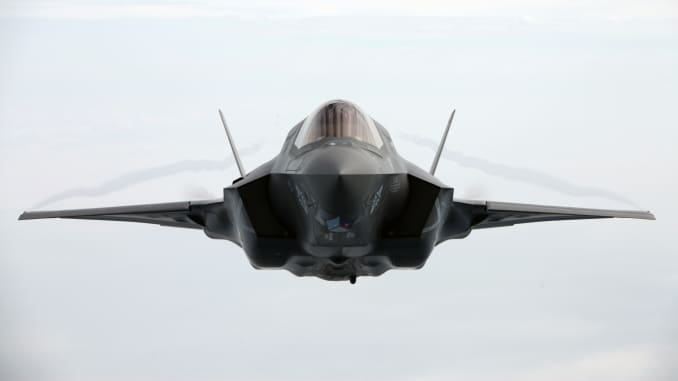 A naval aviator with Marine Fighter Attack Training Squadron 501 flies an F-35 above North Carolina during aerial refueling training on April 14, 2015.