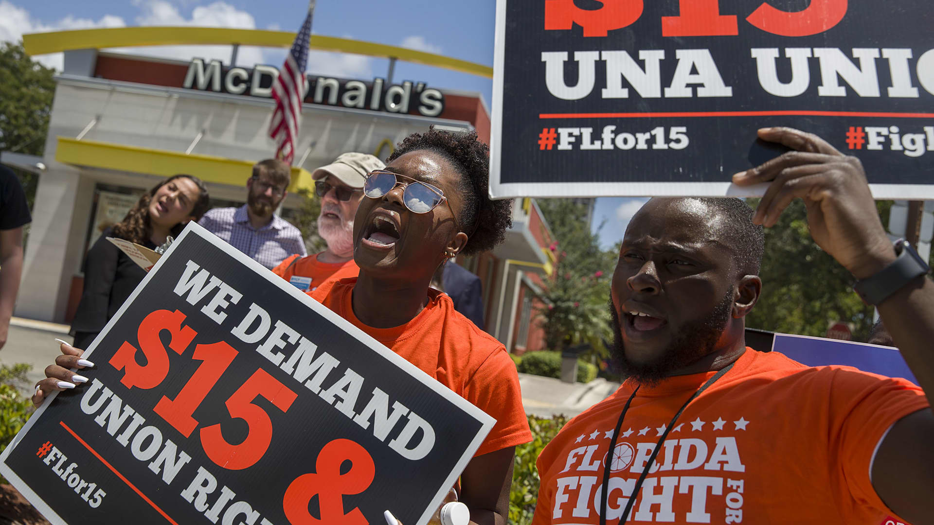 Protestors call for McDonald's Corporation to raise wages to a $15 minimum and allow unionization in Fort Lauderdale, Florida.