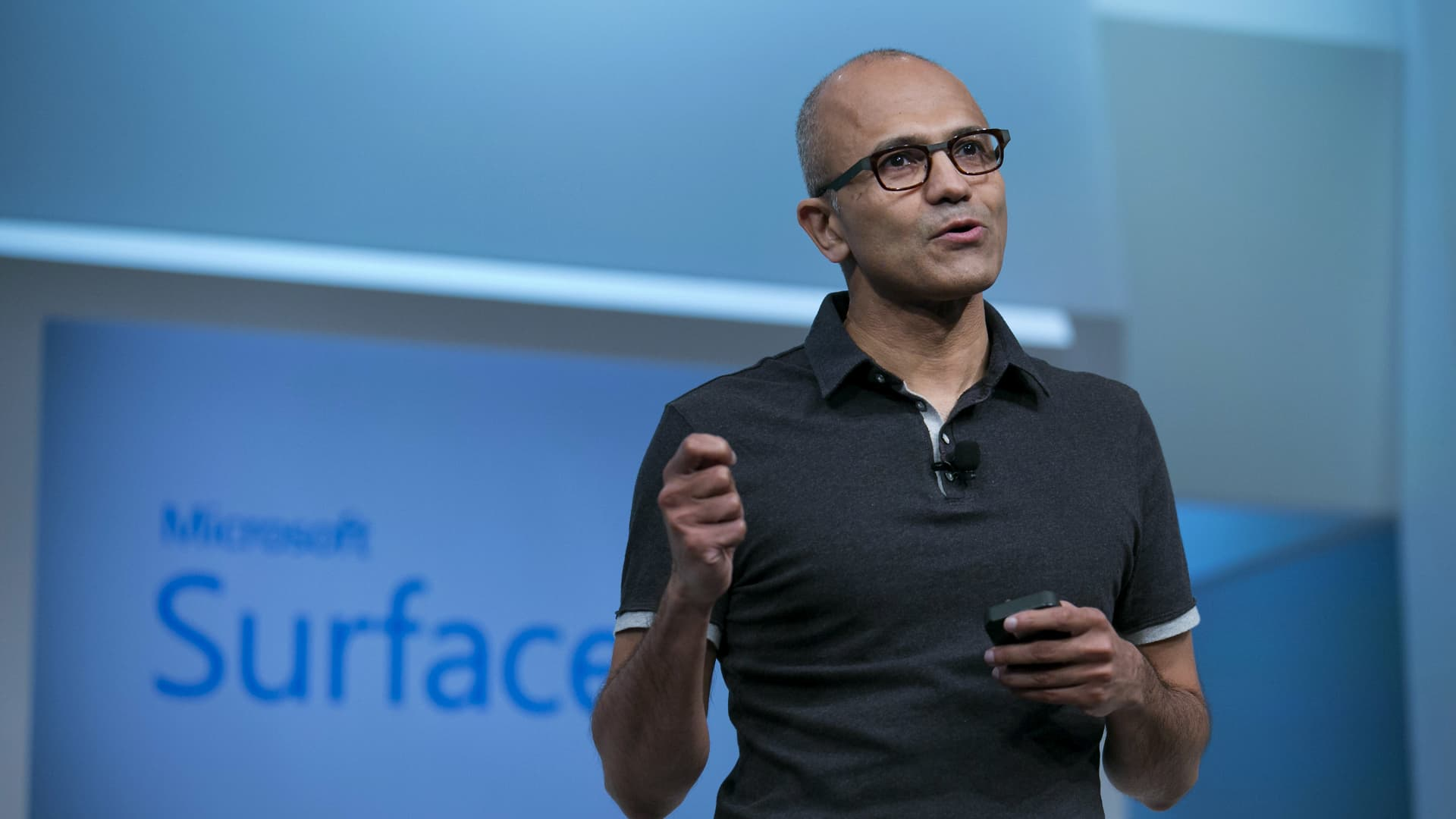 Satya Nadella, chief executive officer of Microsoft Corp., speaks during the unveiling of the Surface Pro 3 at an event in New York on May 20, 2014.