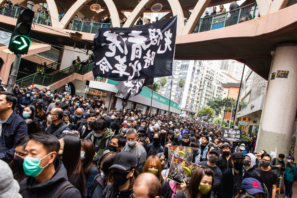 Hundreds arrested in Hong Kong in New Year's Day protests, according to the police