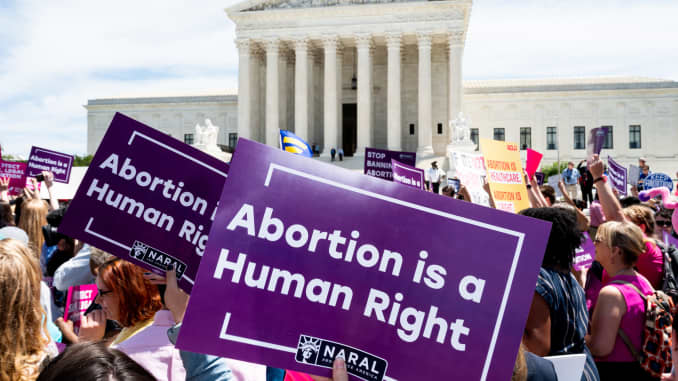 "A placard saying, Abortion is a Human Right, is seen during the ""Stop The Bans Day of Action for Abortion Rights"" rally in front of the Supreme Court in Washington, DC."