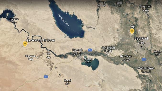 H/O: Iraqi Air Bases targeted by Iran Google Earth Map 200107