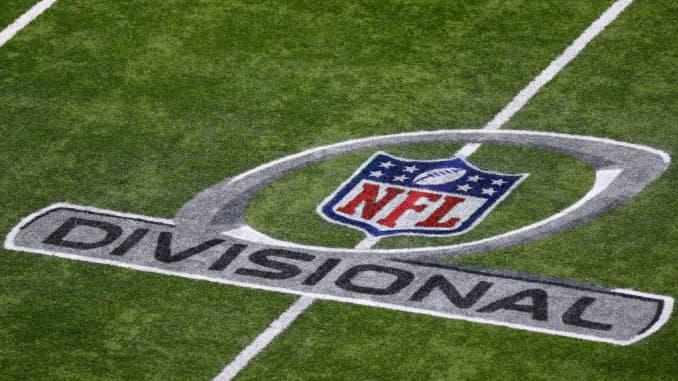 GP: NFL Divisional Round Playoffs logo on field