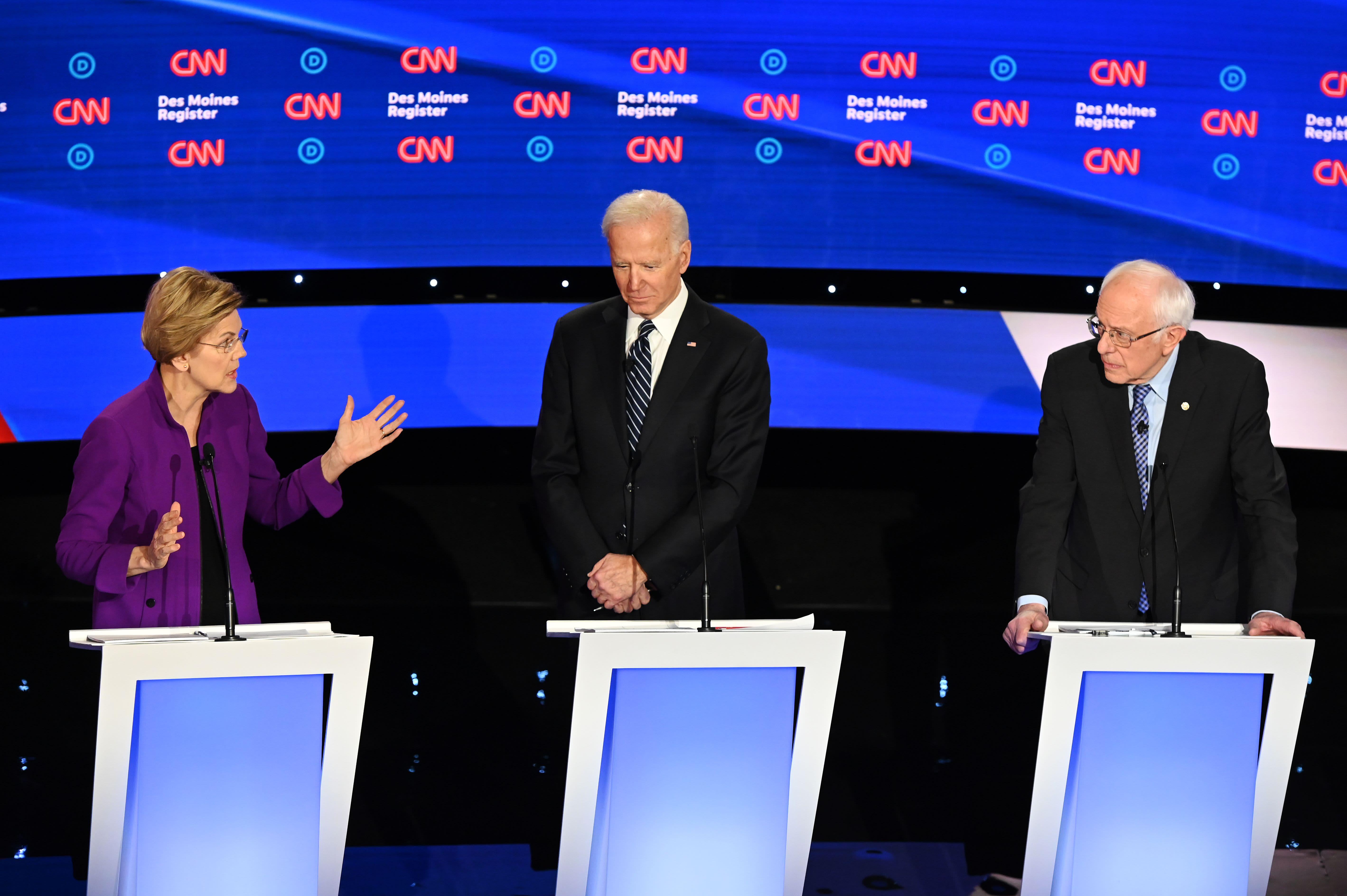 Things get tense between Elizabeth Warren and Bernie Sanders at Democratic debate