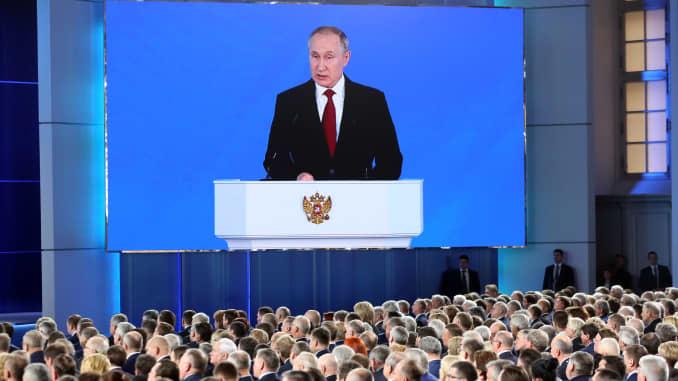 Vladimir Putin, presiden Rusia, saat berbicara dalam pidato kenegaraan tahunan tahunannya di Moskow, Rusia, pada Rabu, 15 Januari 2020.