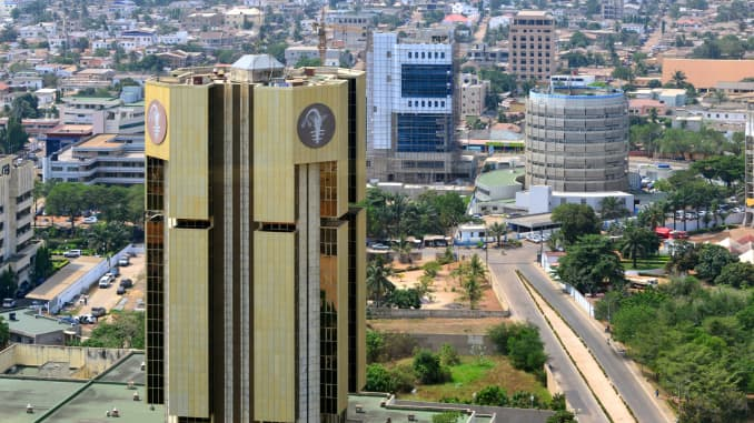 Lomé, Togo: The Central Bank of West African States tower, located on Avenue Abdoulaye Fadiga, serves the eight west African countries which comprise the West African Economic and Monetary Union.