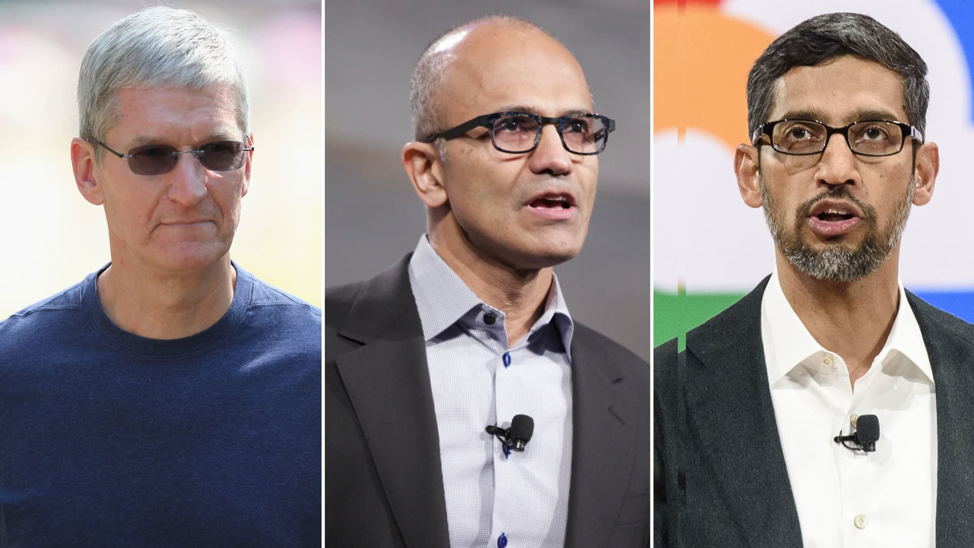Tim Cook, CEO of Apple (L), Satya Nadella, CEO of Microsoft (C) and Sundar Pichai, CEO of Google.