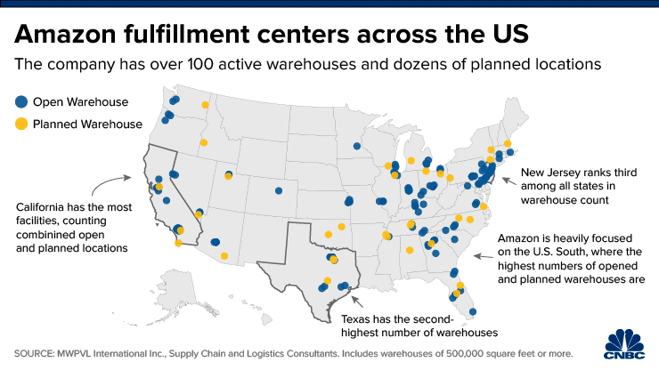This map shows how Amazon's warehouses are rapidly expanding across the country