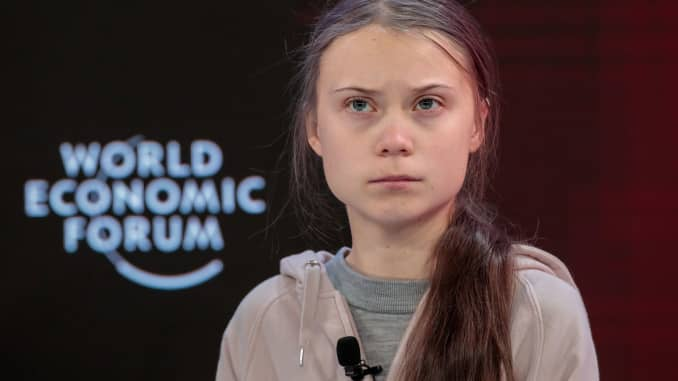 Greta Thunberg, climate activist, pauses during a panel session on the opening day of the World Economic Forum (WEF) in Davos, Switzerland, on Tuesday, Jan. 21, 2020.