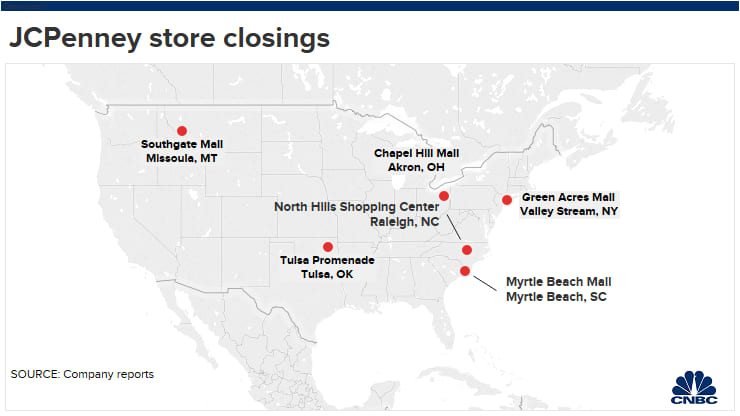 JC Penney is closing 6 stores this year. Here's where they are