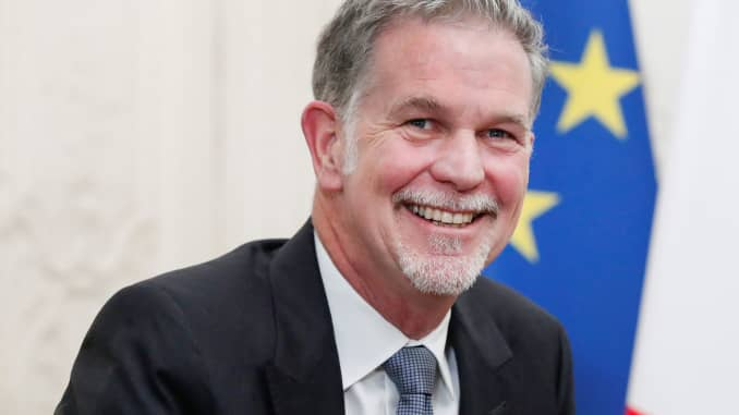 """Reed Hastings, co-founder and CEO of Netflix, attends a meeting with France's President Emmanuel Macron during the """"Choose France"""" summit, at the Chateau de Versailles, outside Paris, France, January 20, 2020."""