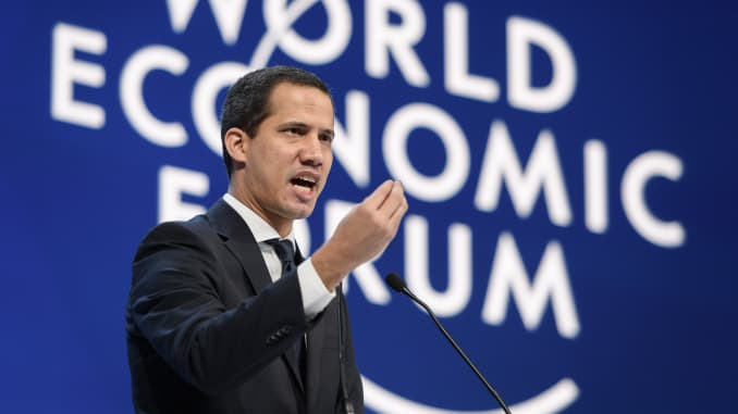 Venezuelan opposition leader Juan Guaido addresses the World Economic Forum (WEF) annual meeting in Davos, on January 23, 2020.